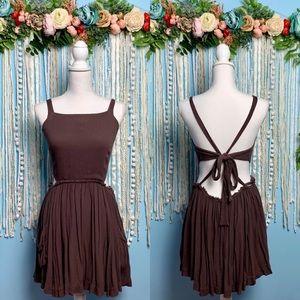 Free People Boho Tie Back Mini Dress Medium